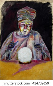 Painting of the fortune teller wearing a turban and with crystal ball