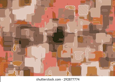 painting geometric pattern abstract background in pink black and brown