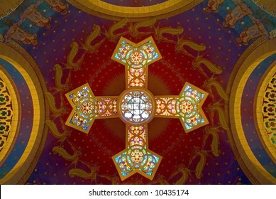 Painting and glass-painting if church ceiling