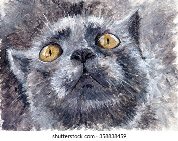 Painting -- gray cat