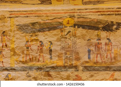 Painting with hieroglyphs and cartouches in the tomb of Ramesses IX