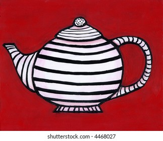 Painting / illustration of black and white striped teapot on red background. I am the artist and hold the copyright.