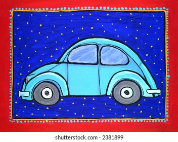Painting/ illustration of blue Volkswagen bug car. I am the artist and hold the copyright.