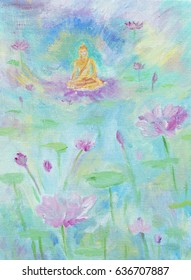 A painting, illustration of a golden Buddha sitting on a lotus flower, in a lake filled with pink lotus plants and flowers.