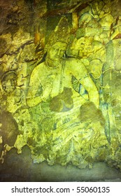 Painting inside the Ajanta caves - India