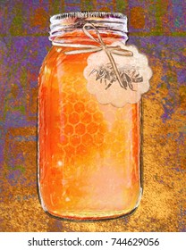 Painting of a jar of honey with a bee tag