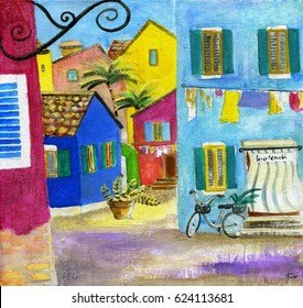 "Painting manually of island Burano, street of multicolored houses, the Italian inscription ""benvenuti"" (is translated as ""welcome"")"