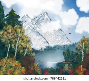 Painting of mystical mountains with forest in autumn colors.