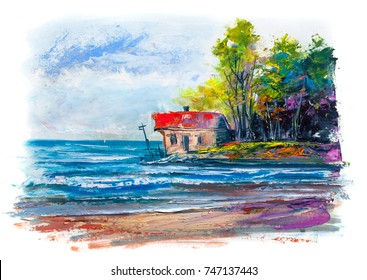 Painting with oil paints. House on the seaside.