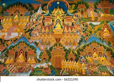 painting on church wall ,Wat-Phut-Udom,Pathumthani,thailand