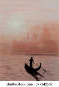 Painting Pastel of a church in Venice with a gondolier