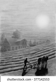 Painting Pastel of a farmer plowing his land monochrome