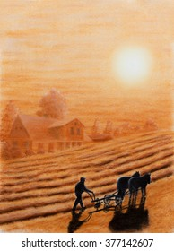 Painting Pastel of a farmer plowing his land