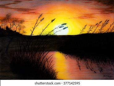 Painting Pastel of a Sunset at a pond