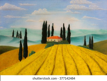 Painting pastels of a farm in Tuscany