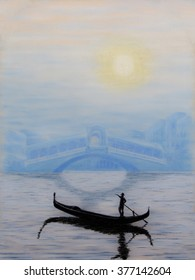 Painting pastels of Rialto Bridge in Venice with a gondolier