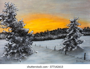 Painting pastels of a winter landscape