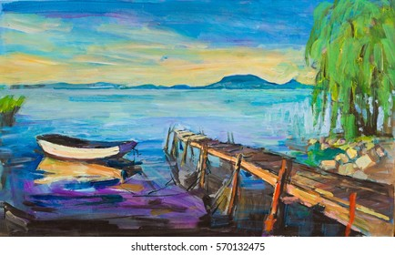 Painting of pier and wooden boat on Balaton lake.