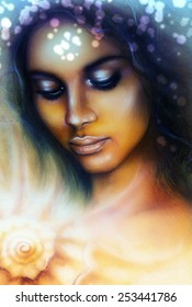 painting  portrait of a young indian woman with closed eyes glamorous make up  meditating upon a spiraling seashell