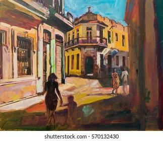 Painting representing sightseeing tourists walking in cuba, latin america, having urban vacation.
