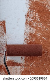 Perfect Painting Roller Surface Copper Paint Inside In Apartment Close Up. Painting  Over Rough Plaster .