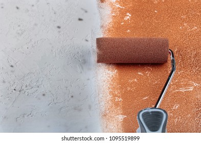 Marvelous Painting Roller Surface Copper Paint Inside In Apartment Close Up. Painting  Over Rough Plaster .