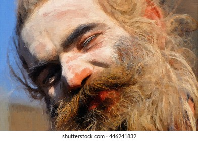 Painting of Sadhu Baba.