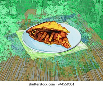 Painting of a slice of apple pie