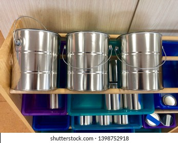 Painting store shelf with paint tin