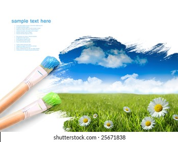 Painting summer landscape with blue sky