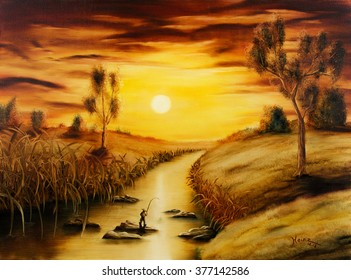 Painting a surreal landscape with a small fisher