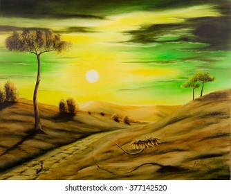 Painting a surreal landscape with small men