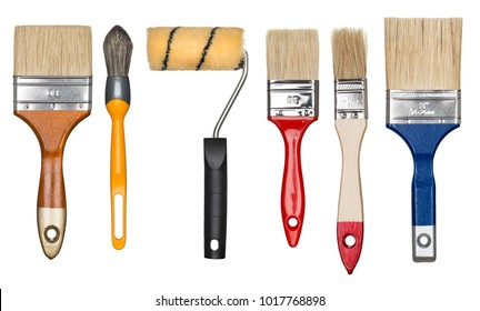 Painting tools. Paint brushes and roller.