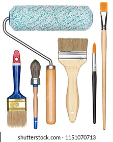 Painting tools. Paint brushes and roller