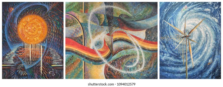 Painting, triptych: Energy of the Sun, Water and Wind. An oil painting on canvas. Author: Nikolay Sivenkov.