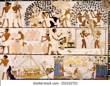 Painting of various Egyptian workers from a tomb in Thebes, Egypt