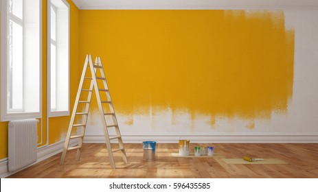 Painting wall yellow in room of apartment after relocation (3D Rendering)