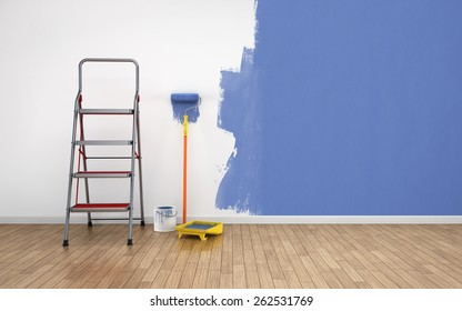 Painting walls of an empty room. Renovation house. 3D rendering