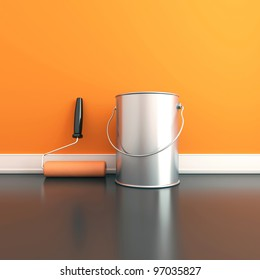 Painting of walls in a orange color. Repair in a house. 3d render