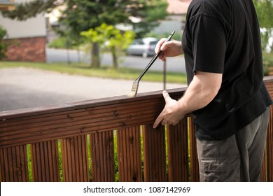 painting a wooden fence