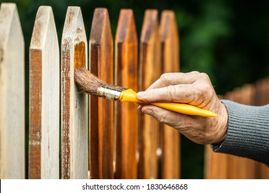Malerei hölzerner Zaun durch Holzfleck. Pinsel in männlicher Hand. Reparatur des alten Raketenzaubers im Garten