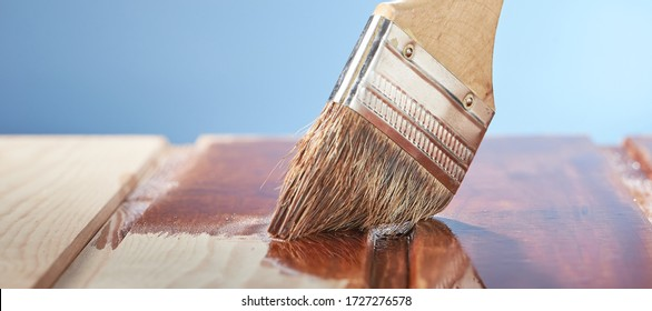 Painting wooden floor with protective varnish on a blue background. Photo from copy space.