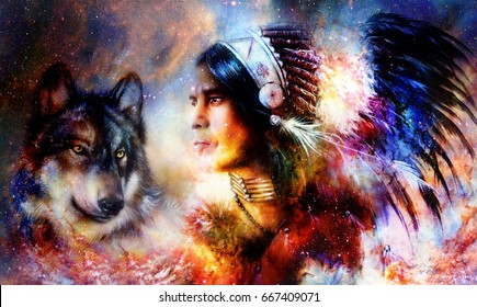 painting of a young indian warrior wearing a gorgeous feather headdress with wolf. Cosmic background. profile portrait.