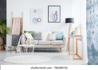 Paintings of cactus and hexagons hanging over a cozy sofa with many pillows standing next to a black lamp in living room interior