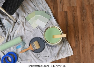 Painting-Still Life: High angle view of equipment for painting an interior room.