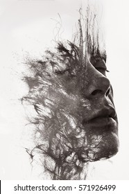 Paintography. An attractive man's face dissolving into pen lines
