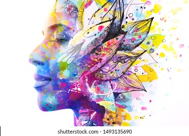 Paintography. Double exposure of woman's profile dissolving into bright colorful leaf drawings with hidden message about life