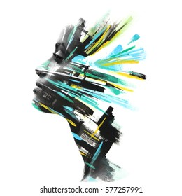 Paintography. Exotic african woman fragments into yellow and turquoise brushstrokes