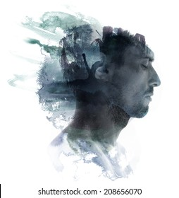 Paintography. Meditative portrait of attractive man combined with watercolor drawing