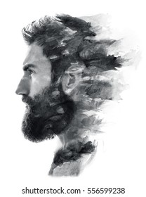 Paintography. Portrait of a bearded man fading in black and white